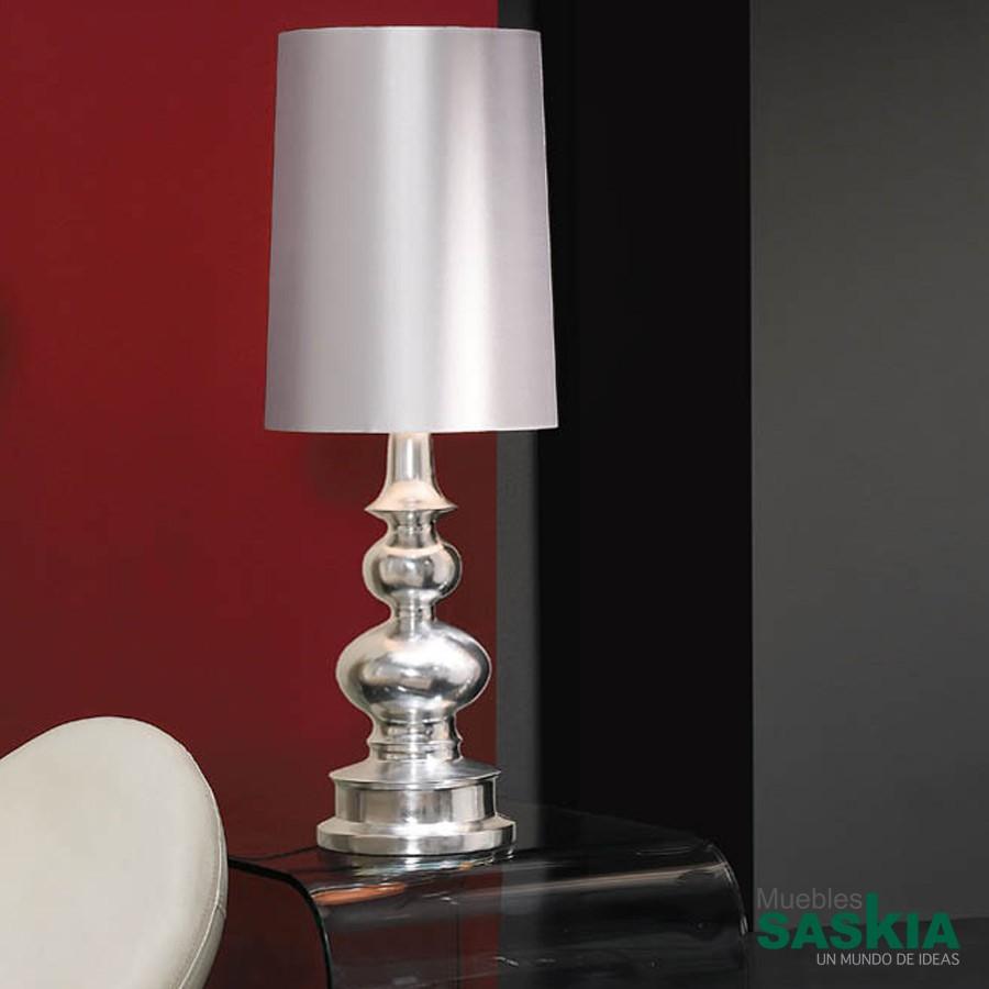 Lámpara de sobremesa babylon plata c/pant