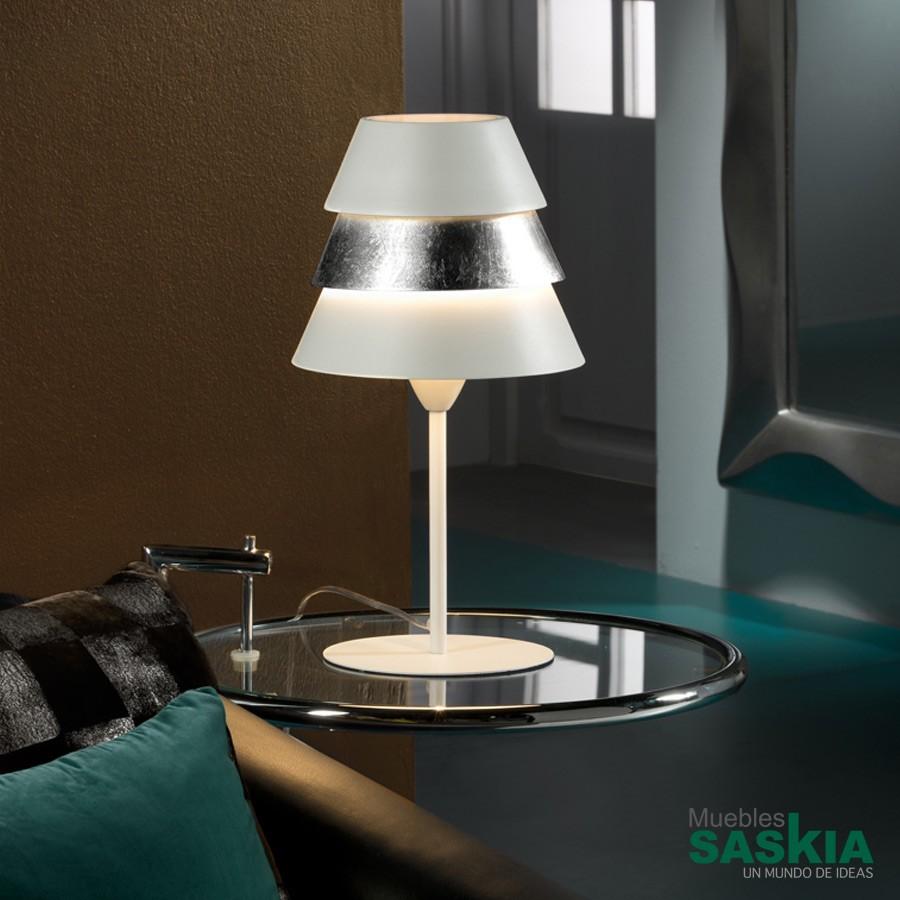Lámpara de sobremesa isis1l blco./Plata