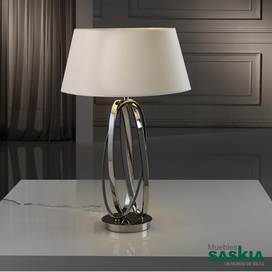Lámpara de sobremesa 1l. ovalos niquel