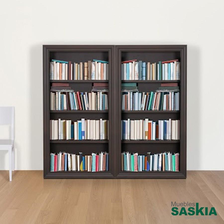 Librería de 4 baldas, estantes fijos