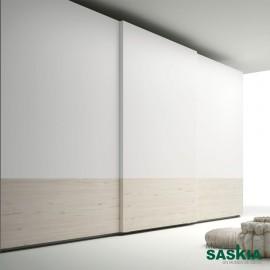 Armario moderno abeto/blanco con puerta corredera
