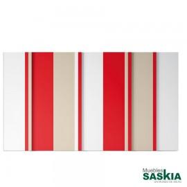 Armario moderno blanco/arena/rojo 13 puerta batiente