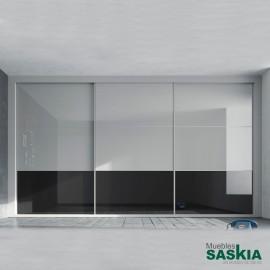Armario moderno humo brillo/vulcano brillo/humo con puerta correderas