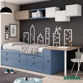 Camas juveniles juvenil moderno muebles saskia en pamplona - Cama juvenil compacta ...