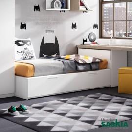 Mueble de cama juvenil, blanca