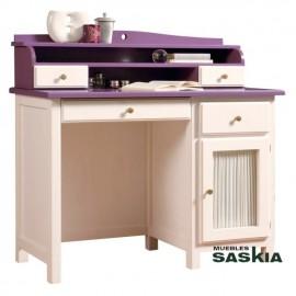 Mesa escritorio puerta visillo y cajón Oria con altillo