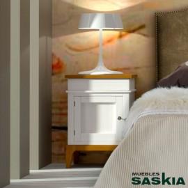 Mesita puerta madera y cajón vintage derecha