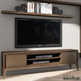 Mueble tv 2 puertas lisas con pie tacón