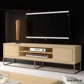 Mueble tv 2 puertas lisas con pie cubo