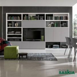 Mueble de tv y librería integrados