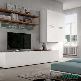Muebles blancos, estanterías de madera