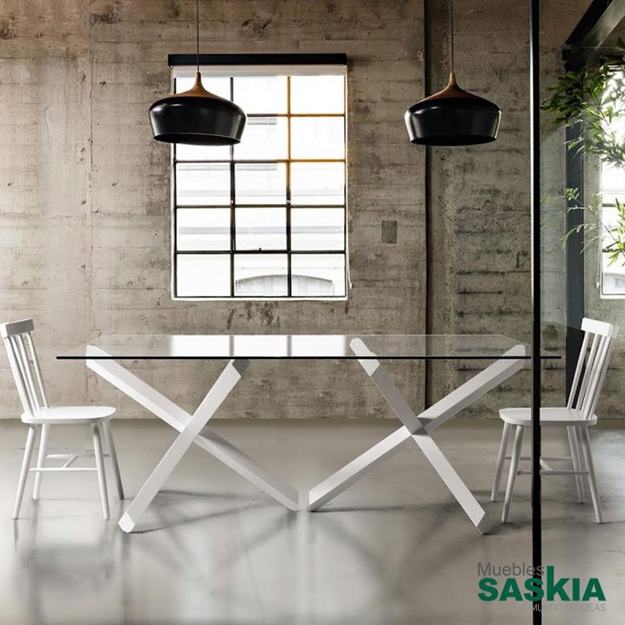 Mesa fija, madera haya y base cristal