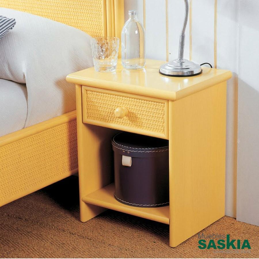 Mesita de noche amarilla, con un cajón realizada en rattán 402-2 ...