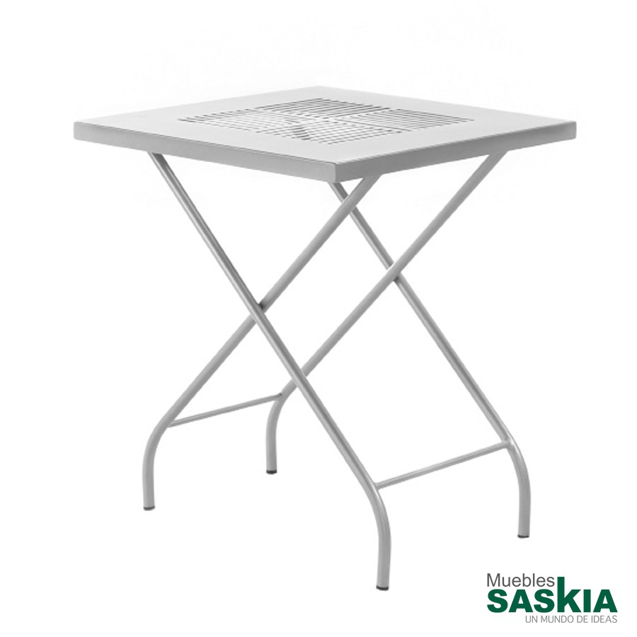 Mesa para jardín plegable, en hierro forjado