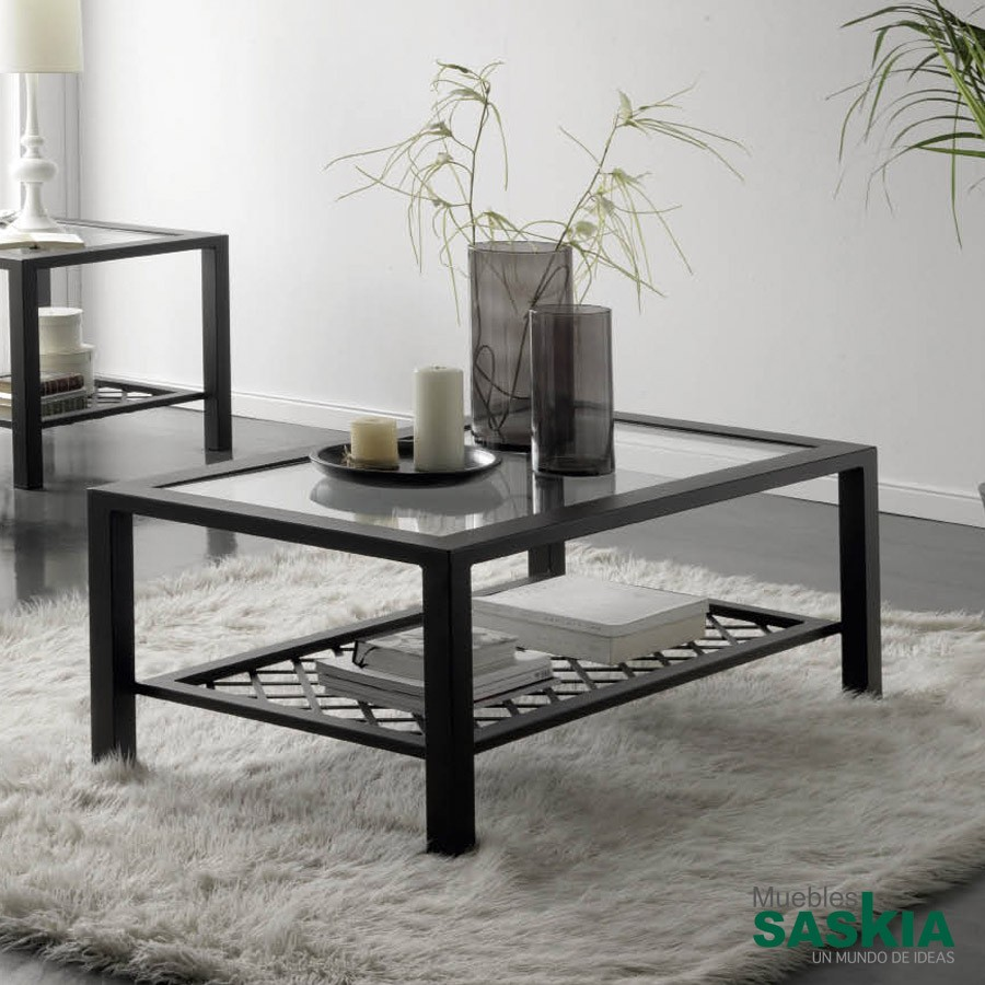 Mesa de centro realizada en hierro forjado con tapa de for Muebles de fierro forjado
