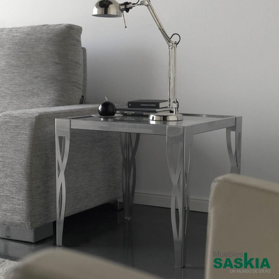 Mesa de diseño, hierro forjado con tapa de cristal