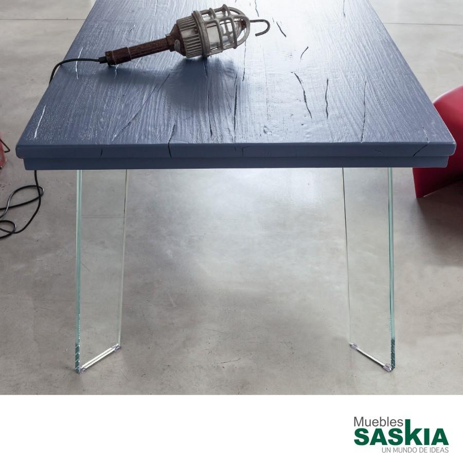 Mesa Smart, patas en cristal y tapa en azul