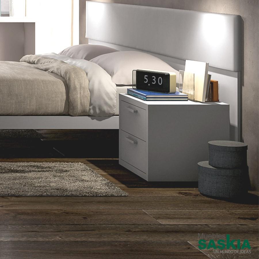Mesita de noche moderna con dos cajones qcd05b muebles - Mesita de noche moderna ...