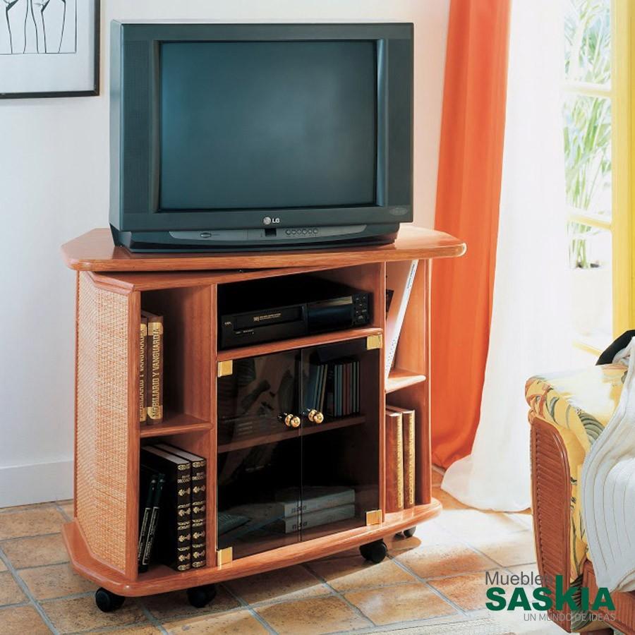 Mueble de TV con mesa giratoria fabricado en rattán