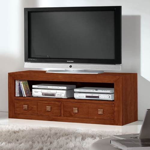 Mueble tv colonial 017 2017 muebles saskia en pamplona for Muebles teca colonial