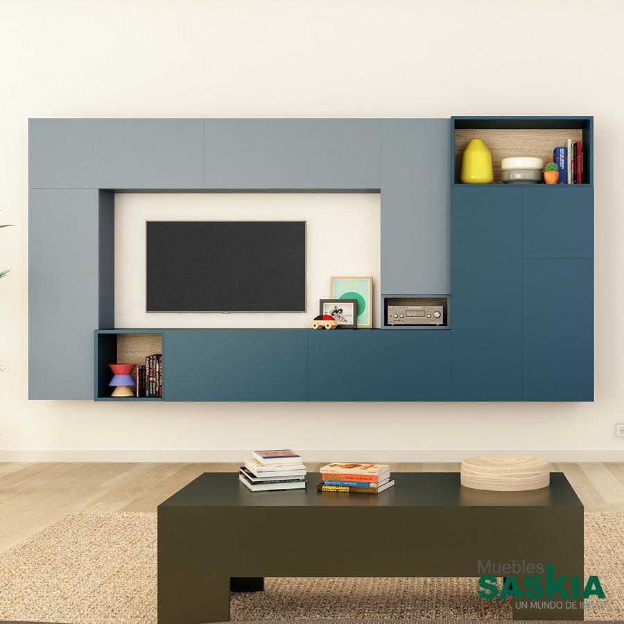 Mueble de salón, tonos azules claro y océano