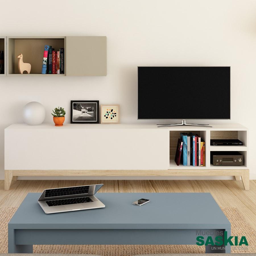 Mueble de tv, laca y madera