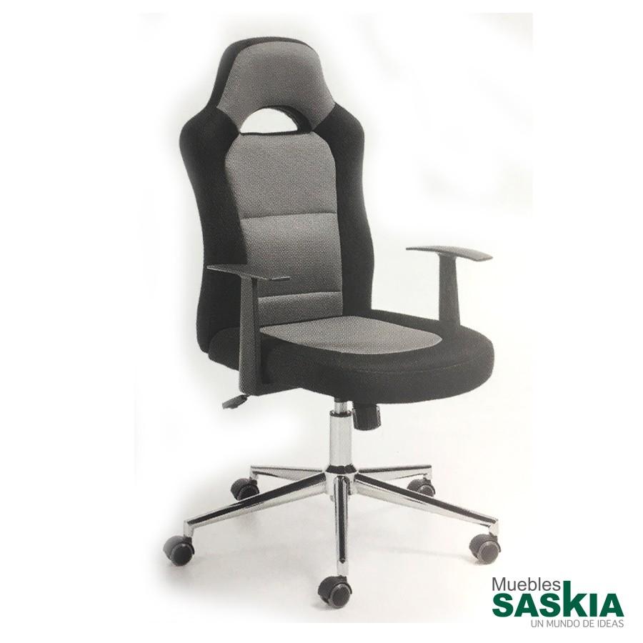 Silla giratoria de estudio, asiento y respaldo negro y gris