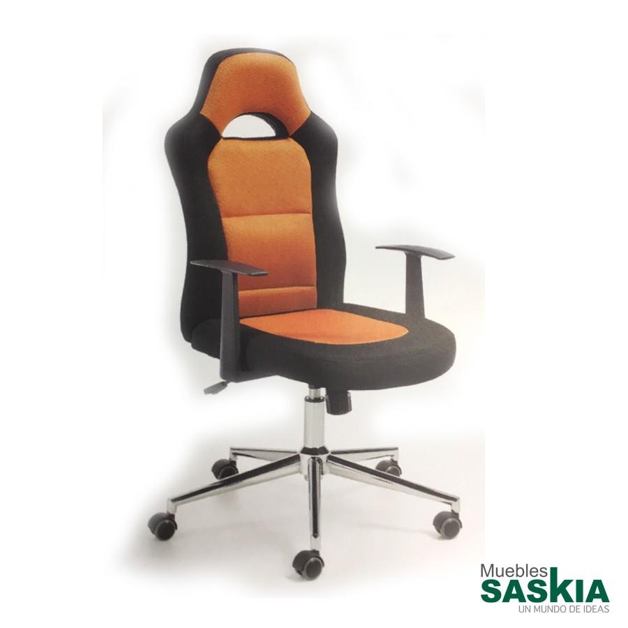 Silla giratoria de estudio, asiento y respaldo negro y naranja
