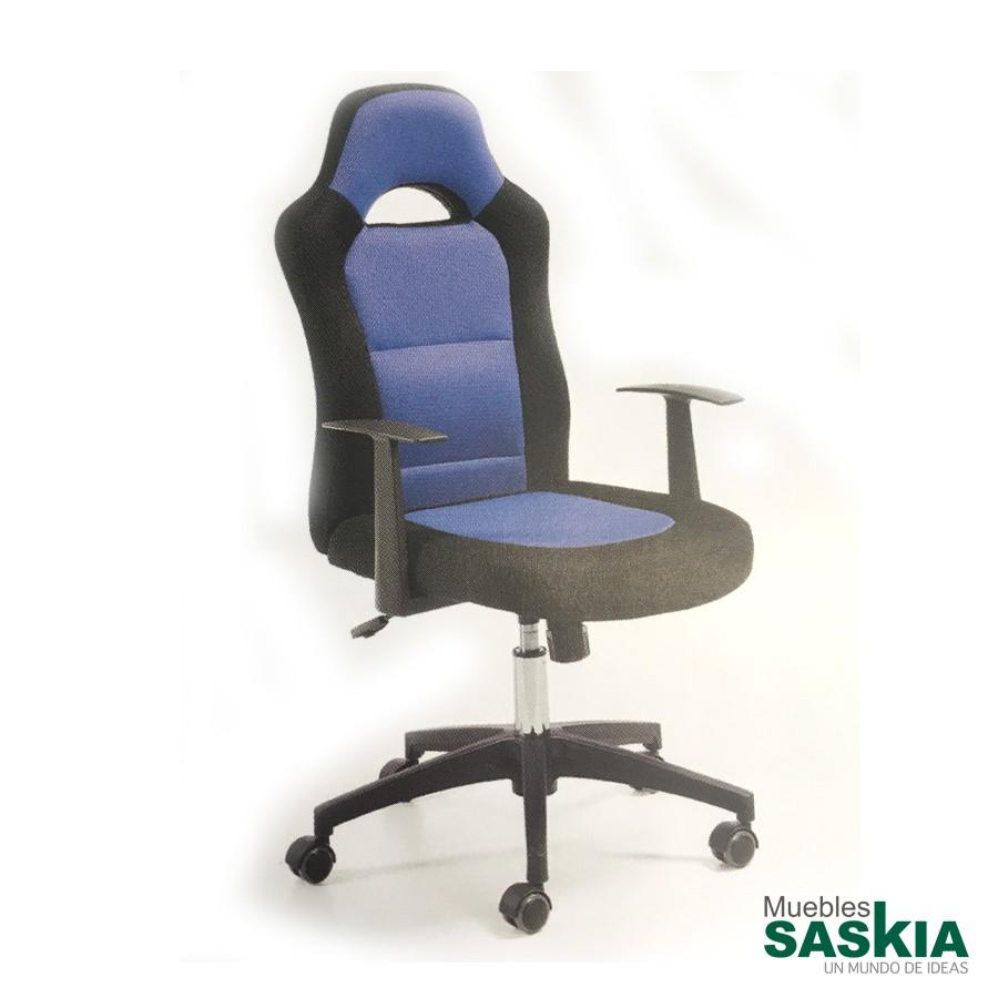Silla giratoria de estudio, asiento y respaldo negro y azul