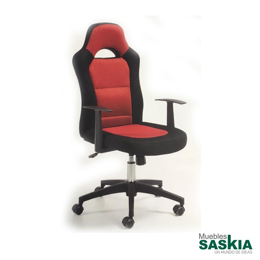 Silla giratoria de estudio, asiento y respaldo negro y rojo