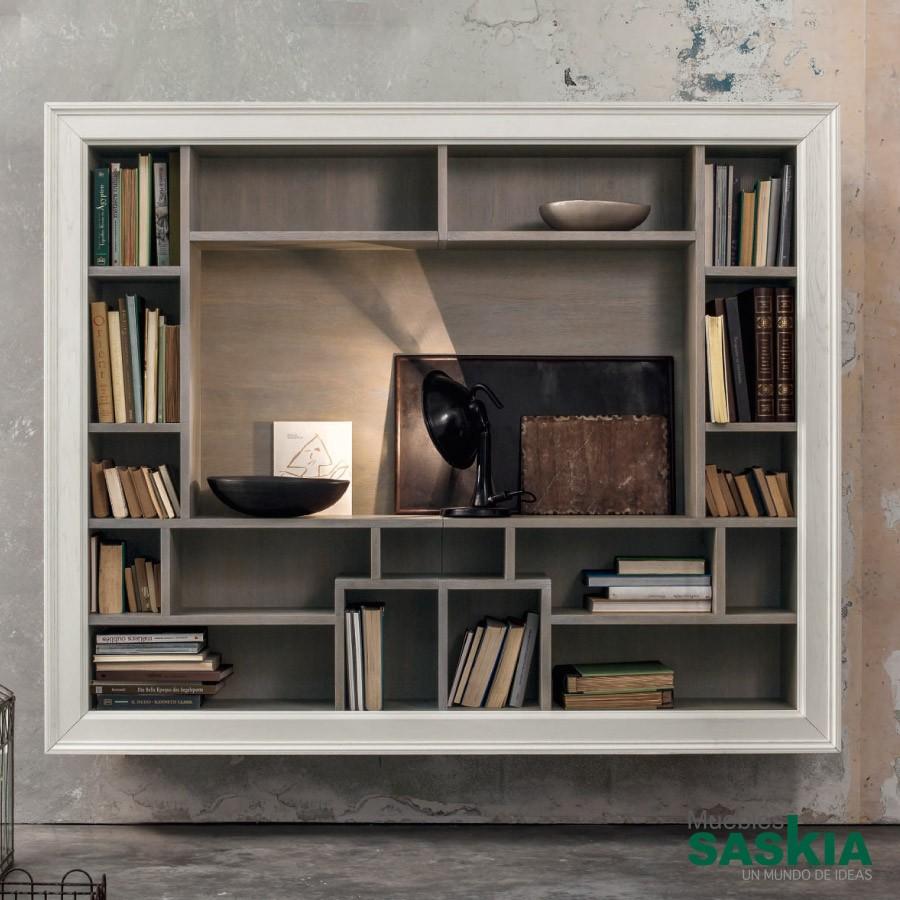 Librería con mueble de tv, es tilo moderno