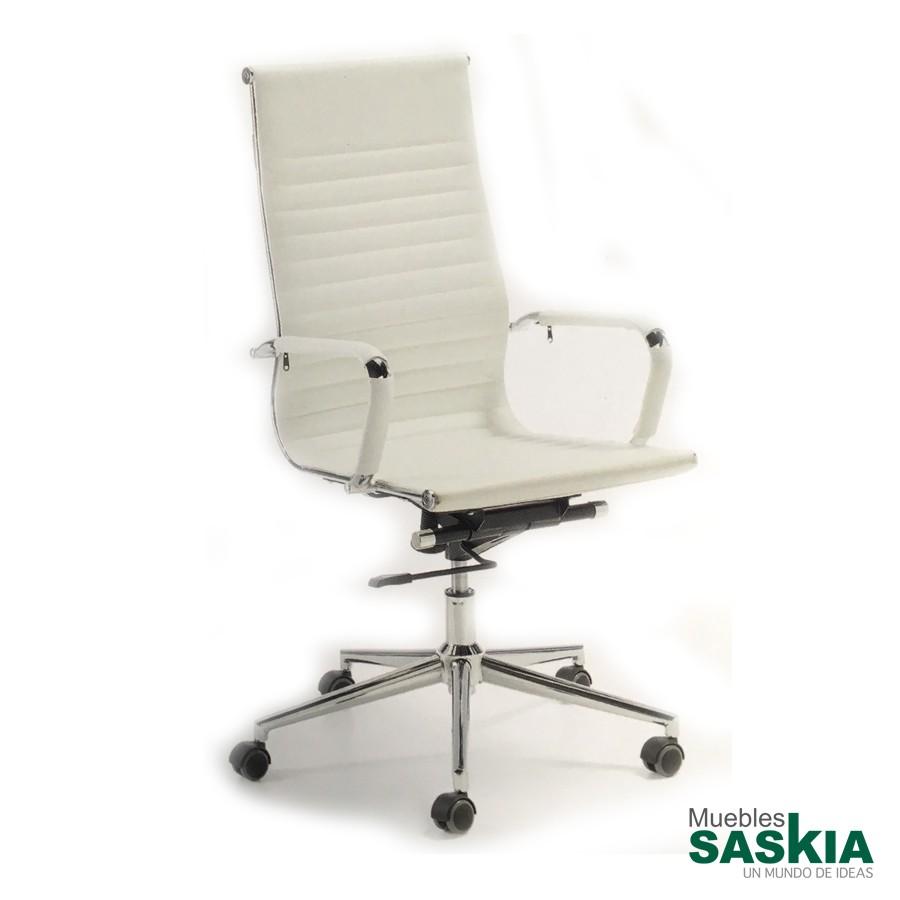 Silla de oficina con mecanismo de balanceo, color blanco