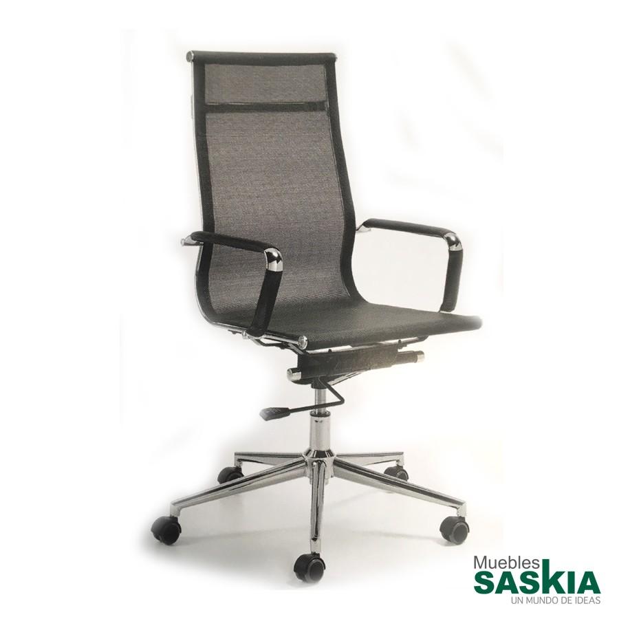 Silla de oficina con mecanismo de balanceo, asiento y respaldo con rejilla
